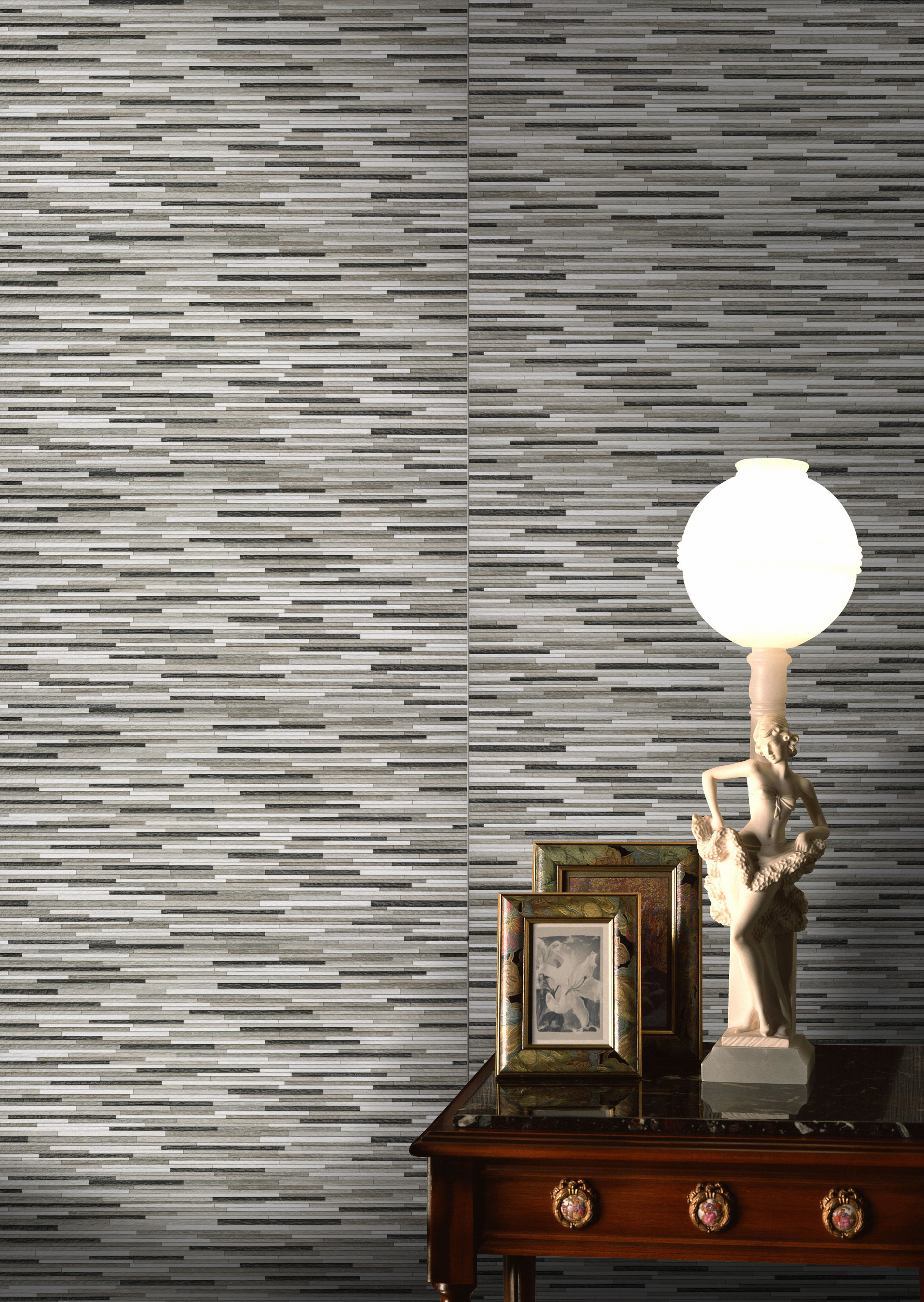 Linear floor and wall tiles