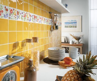 picasso bold yellow kitchen tiles