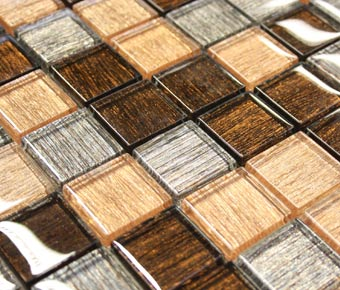 bronze amber glass mosaic