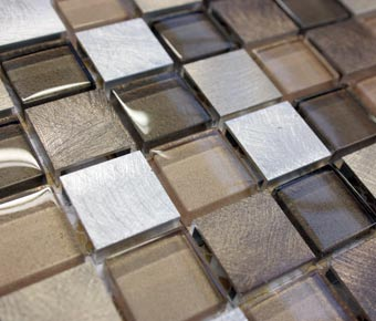 brushed copper mosaic tiles