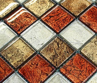 orange foil glass mosaic