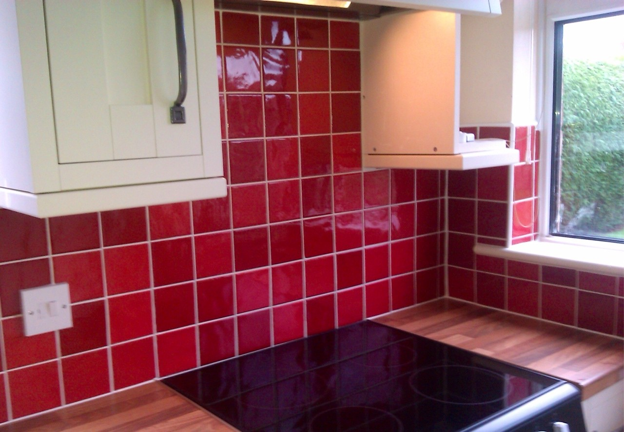 picasso red kitchen tile
