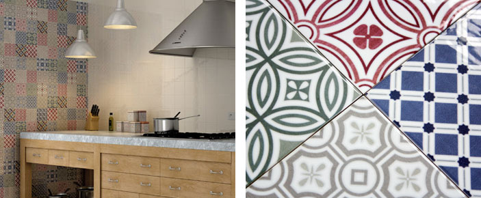 patchwork and patterned tiles