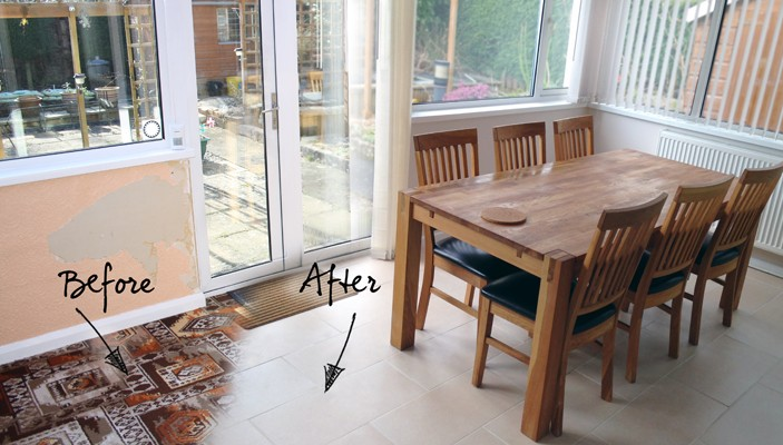 My conservatory before and after tiling the floor