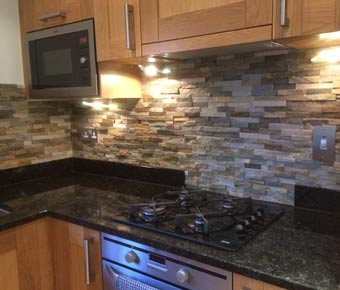 split slate moasic kitchen tiles