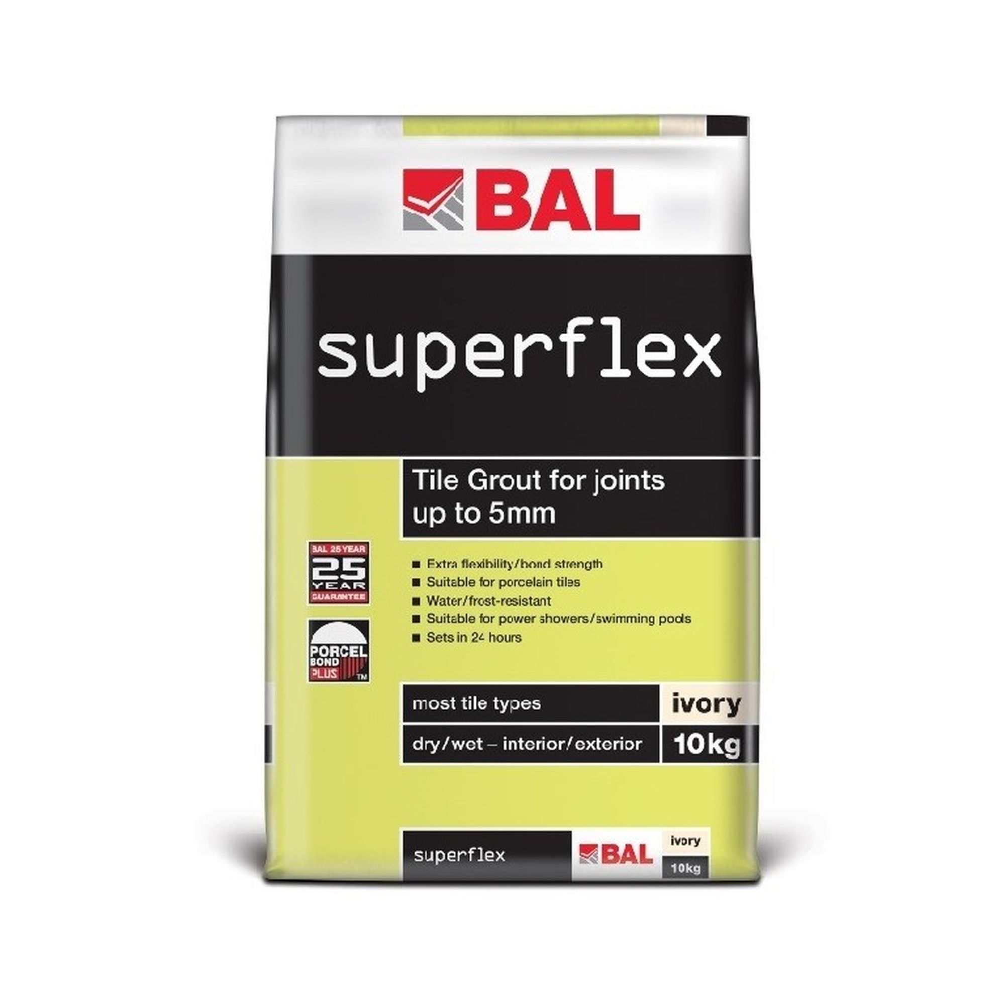 10kg BAL Superflex White Wall Grout