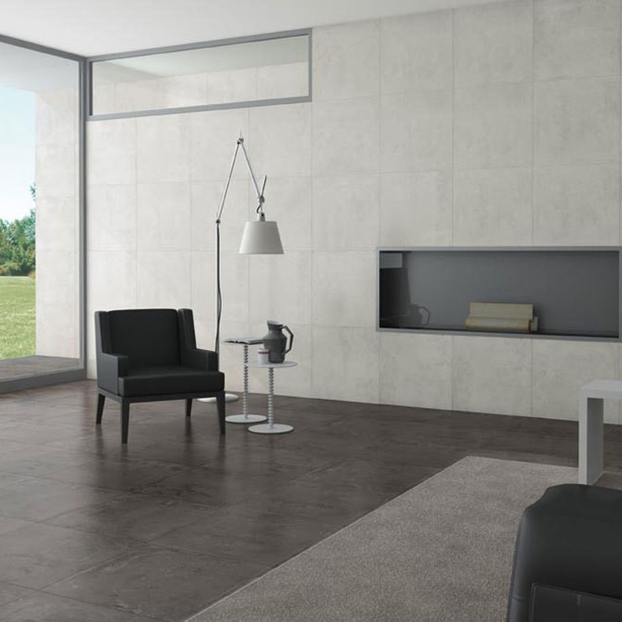 Titanium Blend White Concrete Effect Tiles